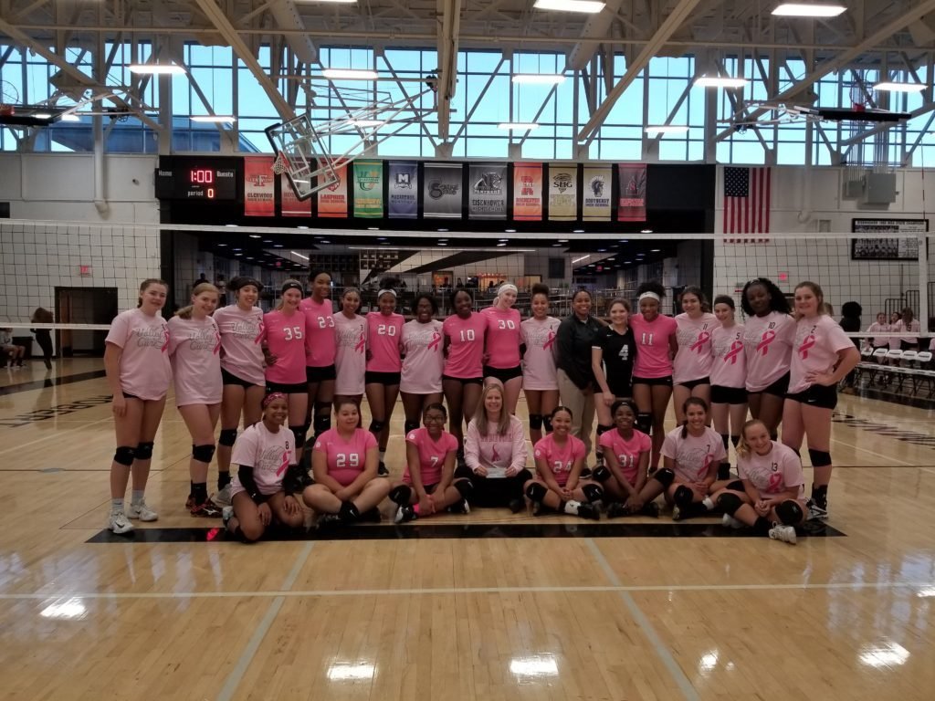Eisenhower Volleyball Team - Pink Night 2018 - both teams